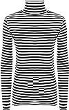 Girls Walk Women's Monochrome Striped Print Polo Cowl Neck Stretch Top