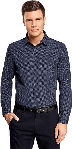 oodji Ultra Hombre Camisa Estampada con Parches en los Codos: Amazon.es: Ropa y accesorios