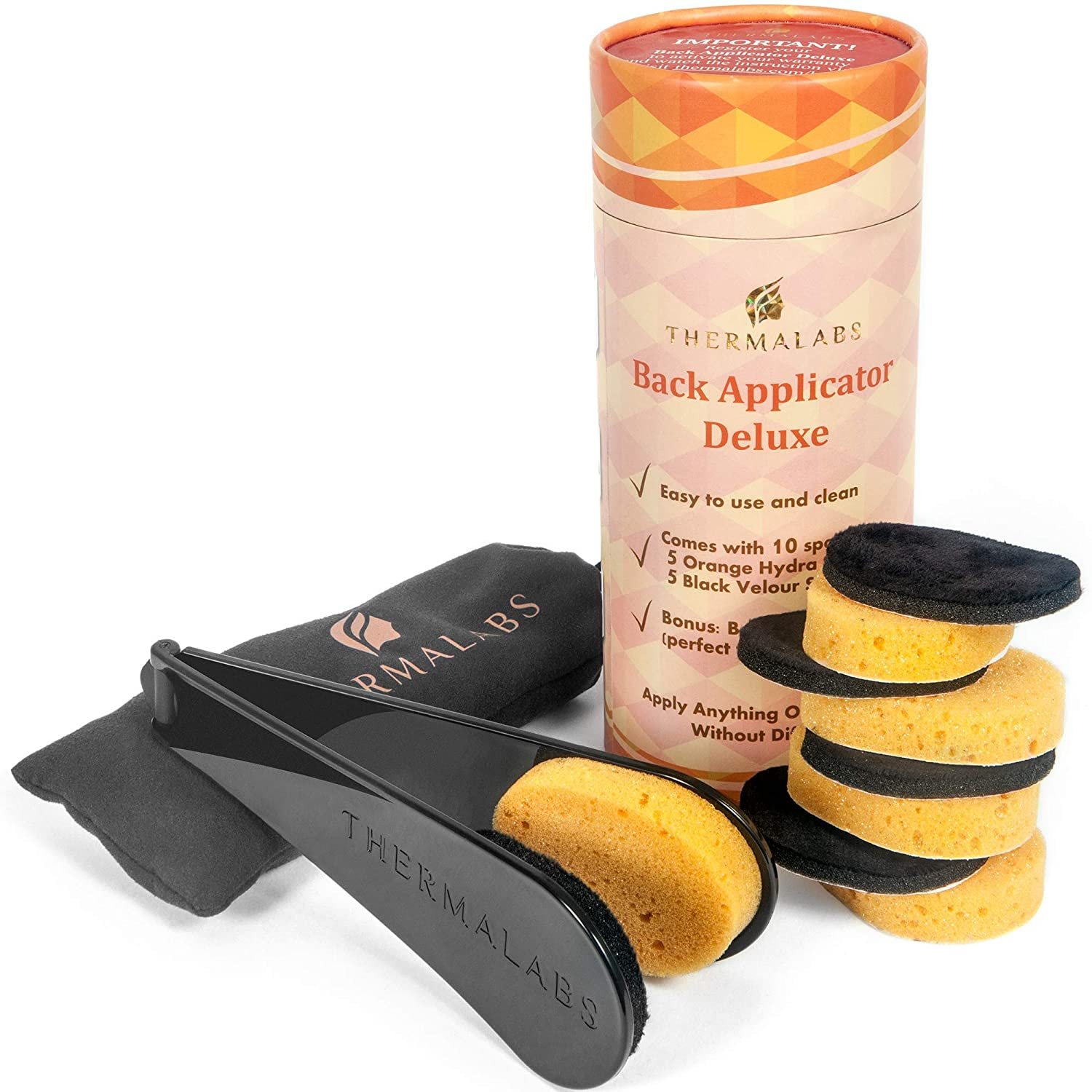 Back Applicator Deluxe: Apply Lotion by Yourself on Unreachable Parts of Your Body! Folding Application Set With Long Reach Handle Stick. Comes With 5 Sponges and a Prestigious Pouch Thermalabs TRML-BCK