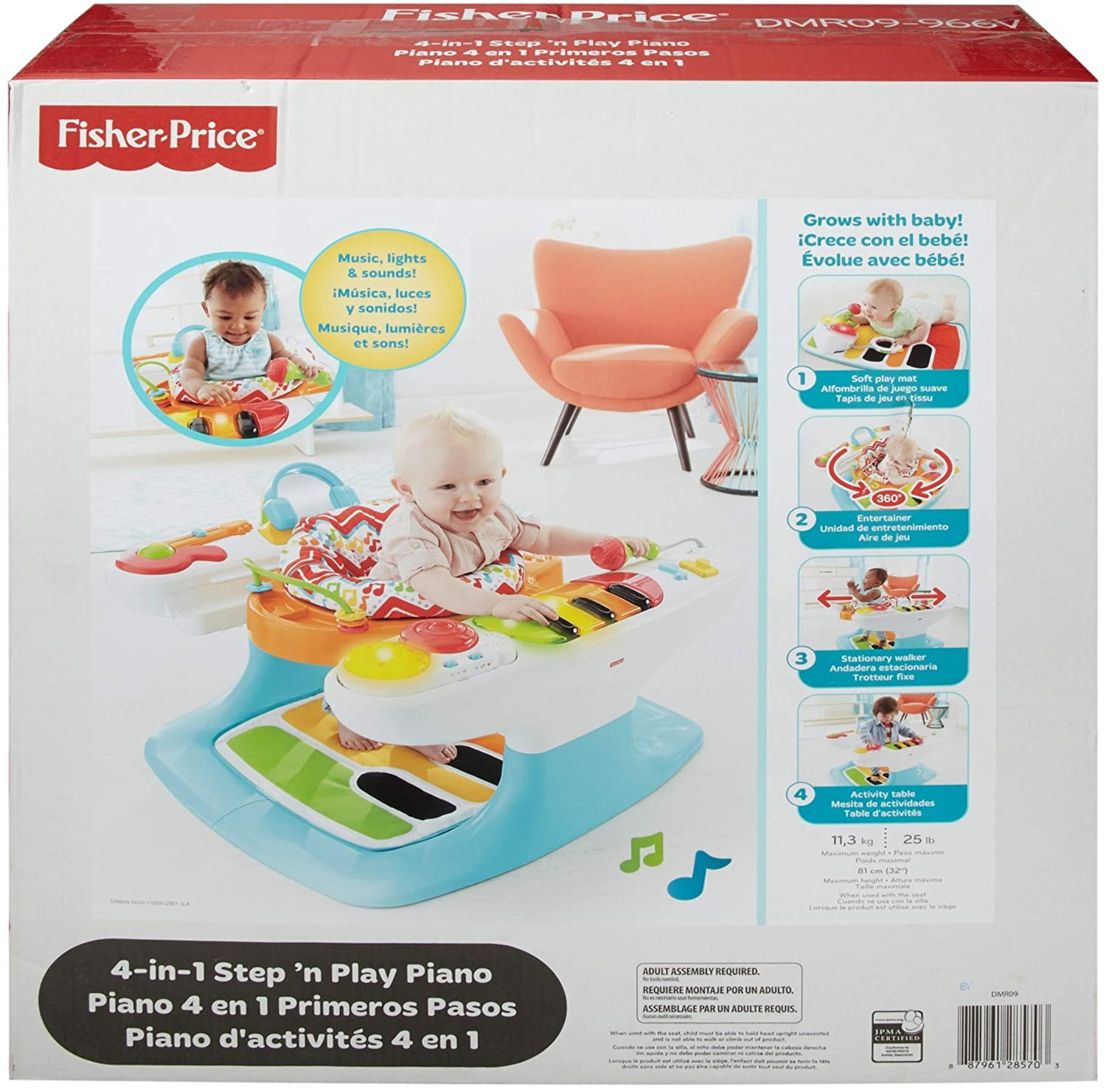 Fisher-Price - Superpiano pasitos musicales 4 en 1, juguete ...