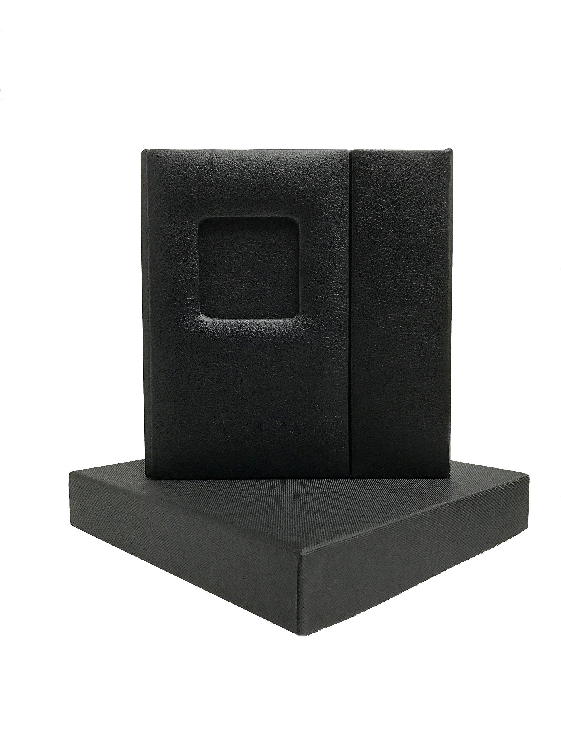 Wedding CD/DVD Case (Bulk of 10), Black Leatherette, Overlapping, Holds 1 Disc/2 photos