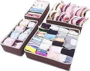 Amborido Underwear Storage Drawer Organizer 4 Set Basket Bins Foldable Sturdy Divider Socks Bras Ties Small Objects Coffee