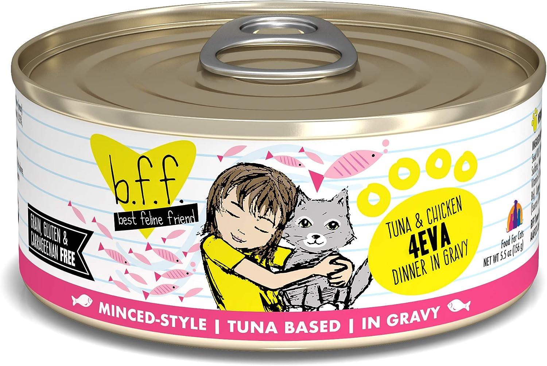 Best Feline Friend (B.F.F.) Grain-Free Cat Food by Weruva, Tuna & Chicken 4-Eva, 5.5-Ounce Can (Pack of 24)