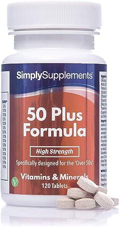 Fórmula 50 Plus multivitamínico con vitamina C - ¡Bote para 4 meses! - Apto para vegetarianos - 120 Comprimidos - SimplySupplements: Amazon.es: Salud y cuidado personal