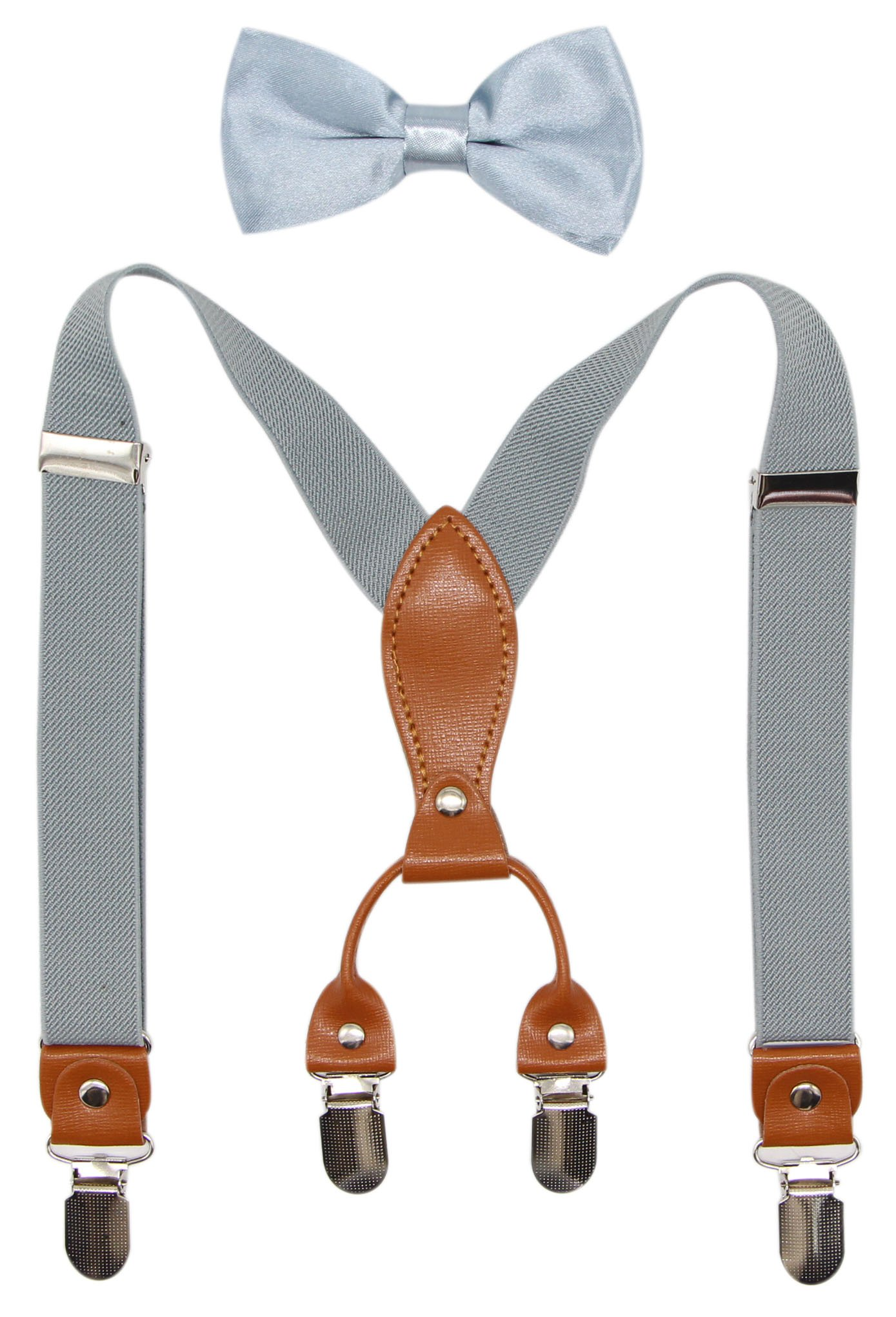 Suspenders & Bowtie Set for Kids and Baby - Adjustable Elastic X-Band Strong Clips Braces (Light Grey)