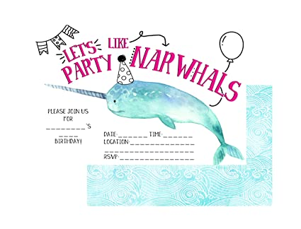 Amazon Com Let S Party Like A Narwhal Doodle Hip Trendy Party