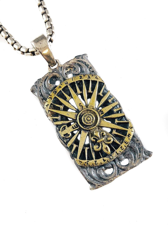 Handmade Sterling Silver Fleur de Lis Brass Compass Pendant - DeluxeAdultCostumes.com