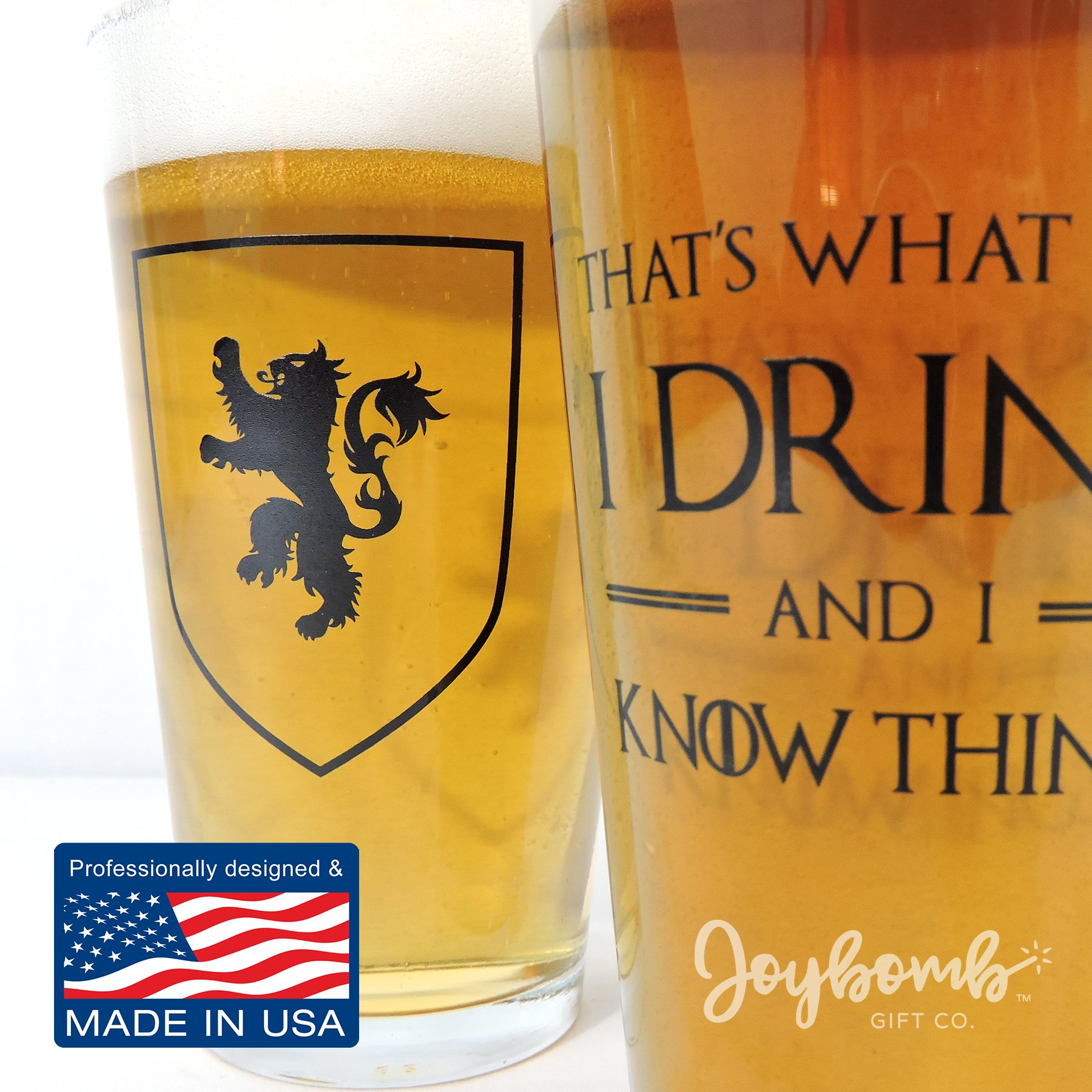 I Drink and I Know Things: Beer Glass - Perfect gift for Game of Thrones fans - Tyrion Lannister Mug Cup - 16oz - Made in USA by Joybomb Gift Co. (Image #5)