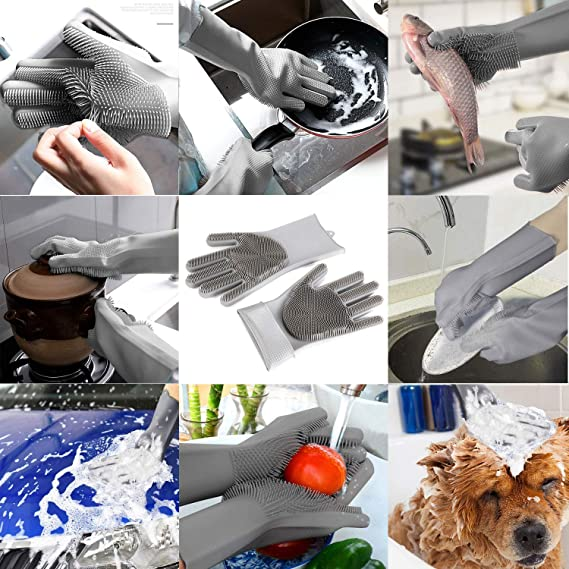Ideal para Lavar Platos Cuidado del Cabello de Las Mascotas y m/ás ba/ños cocinas QYY Guantes para Lavar Platos Guantes de Silicona Reutilizables Resistentes al Calor e Impermeables