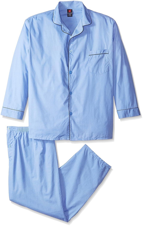 Hanes Men's Woven Plain-Weave Pajama Set Hanes Sleepwear 91002