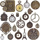 BronaGrand 20pcs Mixed Antiqued Bronze Charms Clock Face Charm Pendant, DIY Crafts, Gears, Jewelry Making, Steampunk…