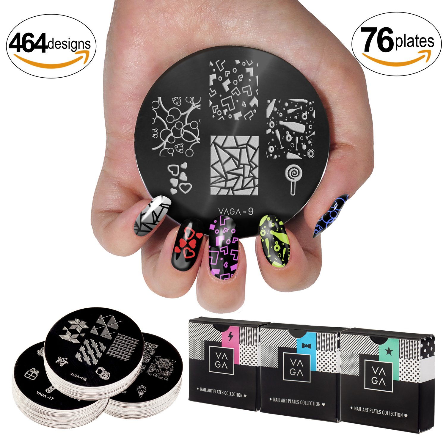 Best Value Nail Art Set With 76 Premium Quality Stamp Stencils / Stamping Plates / Templates With Numerous Different Patterns By VAGA