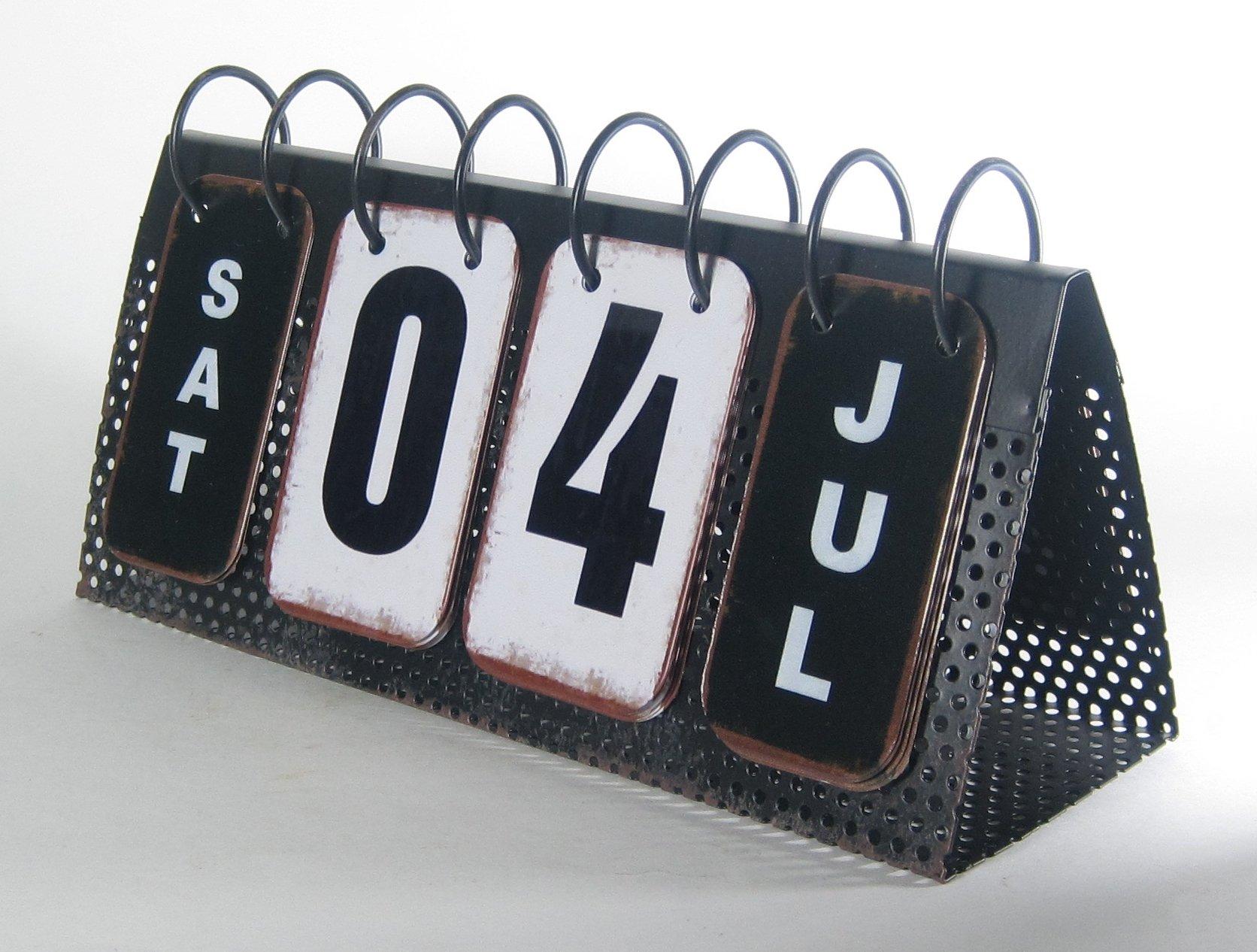 Metal Spiral Flip Perpetual Calendar Eclectic Antique Style Desktop Tabletop 10.75'' x 5.5''