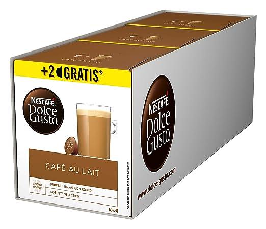 Nescafé Dolce Gusto Café au Lait 54 Kaffeekapseln, Aromaversiegelte Kapseln, 3er Pack (3 x 180g)