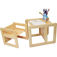Obique 3 in 1 Children's Multifunctional Furniture Set of 2, One Small Chair or Table and One Large Chair or Table Beech Wood, Natural