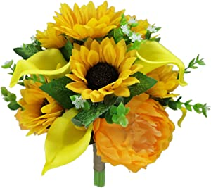 Lily Garden Artificial Calla Lily Sunflower and Peony Flower Wedding Bouquets (Yellow)
