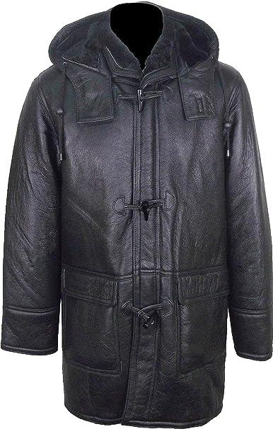 UNICORN Hombres Encapuchado Piel De Oveja Duffle Coat Negro Con Negro Pelaje Chaqueta de Cuero Real