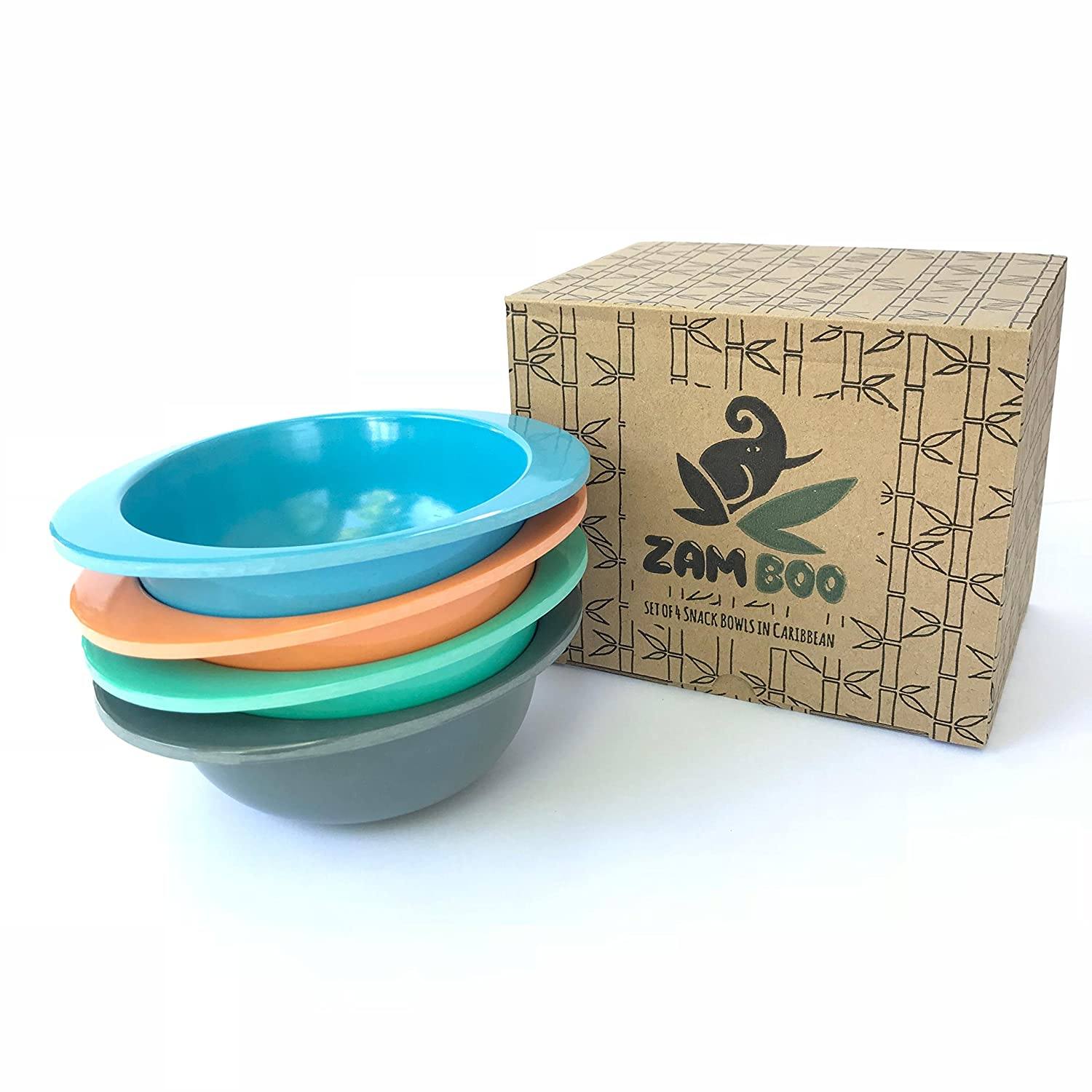 Zamboo Small Bowls for Kids - Made from Eco Friendly Bamboo Fiber - Best for Snacks, Breakfast, Lunch, or Dinner - Biodegradable Dinnerware for Children, Toddlers, and Babies - Blue Green Orange Gray Miyar