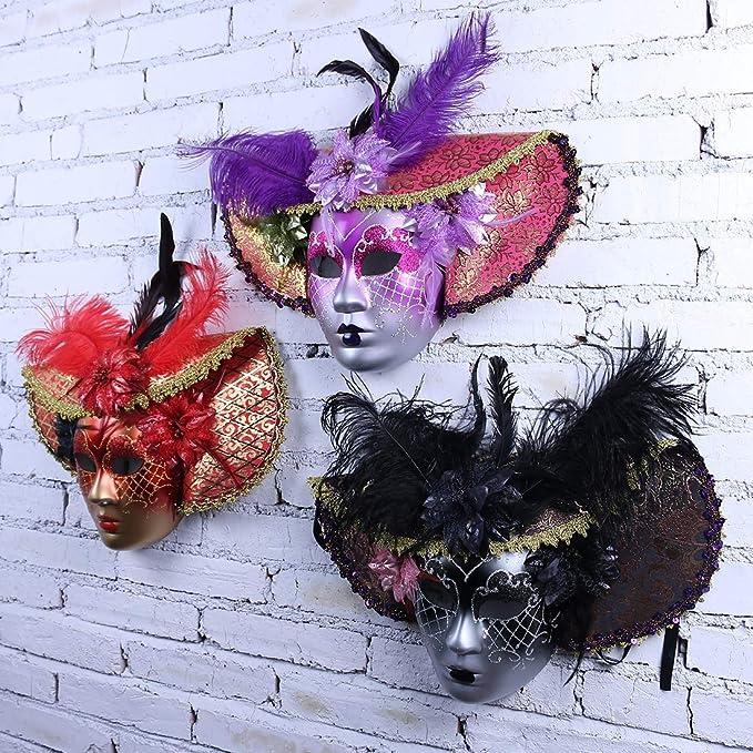 Full Face Venetian Masquerade Masks for - Mardi Gras Wall Decor