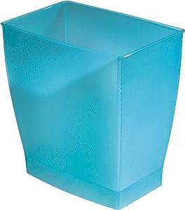 iDesign Spa Rectangular Trash, Waste Basket Garbage Can for Bathroom, Bedroom, Home Office, Dorm, College, 2.5 Gallon, Azure