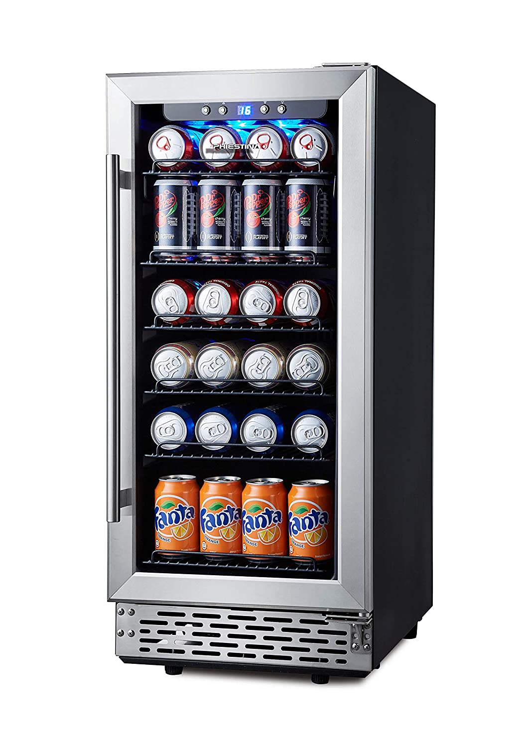 Phiestina 15 Inch Beverage Cooler Refrigerator – 96 Can Built-in or Free Standing Beverage Fridge with Glass Door for Soda Beer or Wine – Compact Drink Fridge For Home Bar or Office