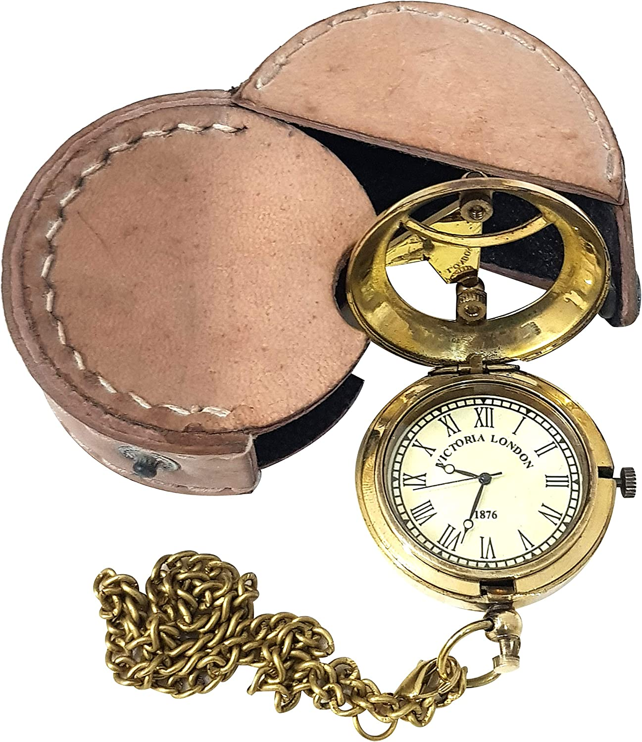 Vintage Brass Sundial Nautical Compass with Leather Case Steampunk Collectible