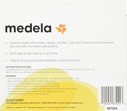 faf63e2178 Amazon.com  Medela Quick Clean Micro-Steam Bags Economy Pack of 4 retail  boxes (20 Bags Total)  Baby