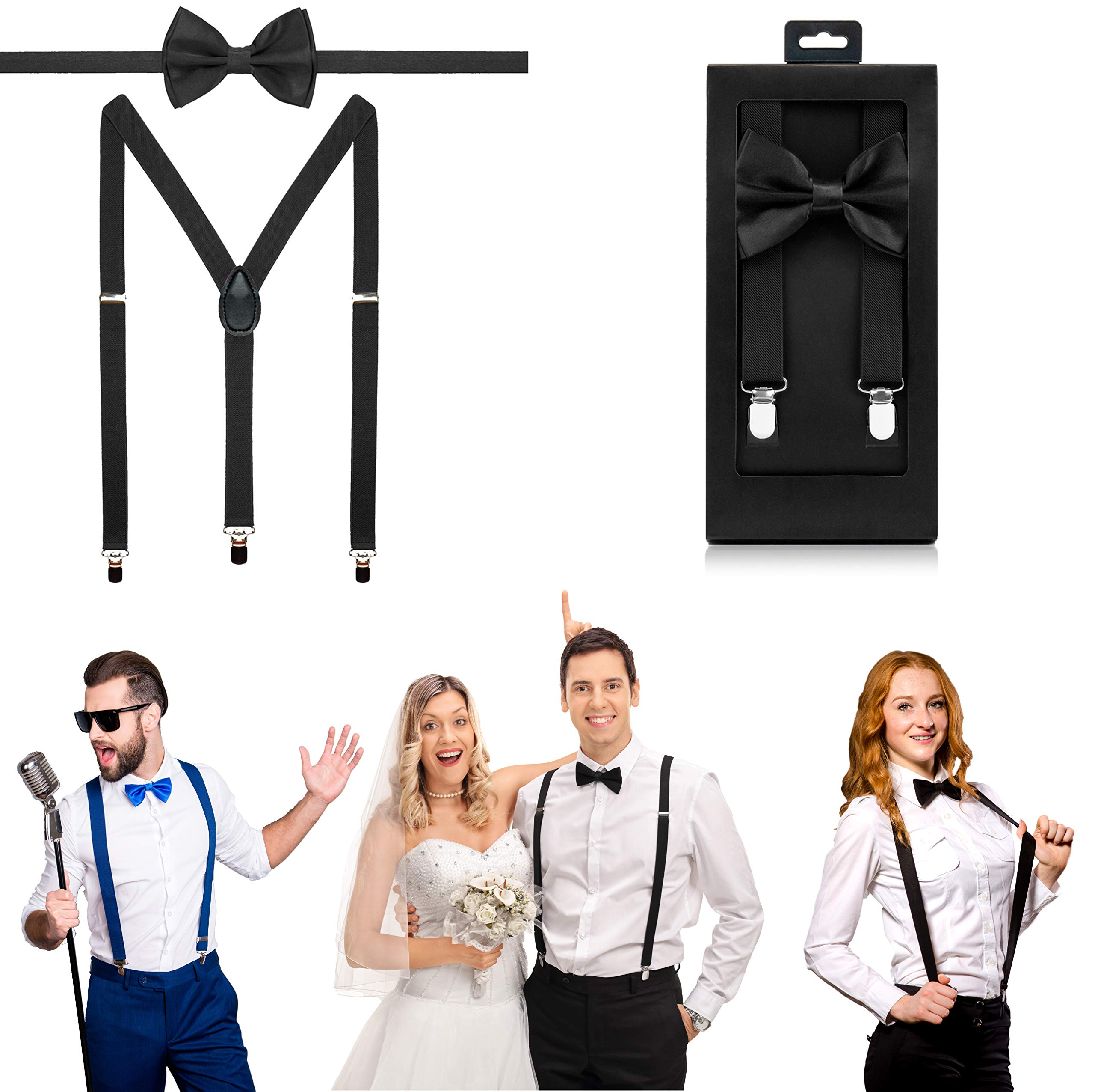 McWay Bowtie and Suspender Set For Men, Adults   Premium Quality   With Gift Box   Wide And Adjustable   Classy Design (Black)