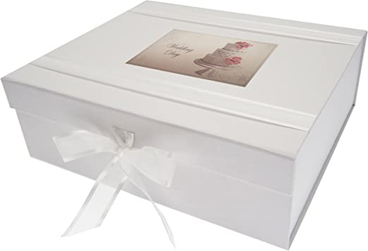 White Cotton Cards. Caja de Recuerdo de Boda «Vintage Cake ...