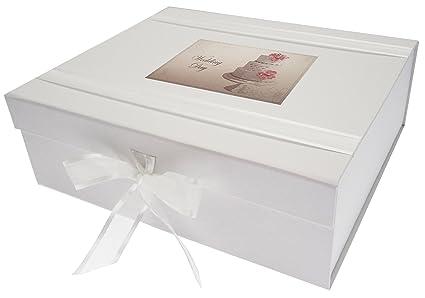 Legno Bianco Vintage : White cotton cards scatola dei ricordi matrimonio torta vintage