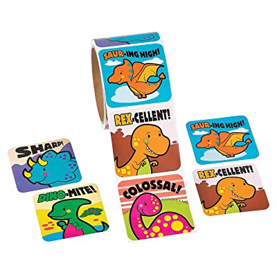 Fun Express Jumbo Dinosaur Roll Stickers - 1 Piece - Educational and Learning Activities for Kids: Toys & Games