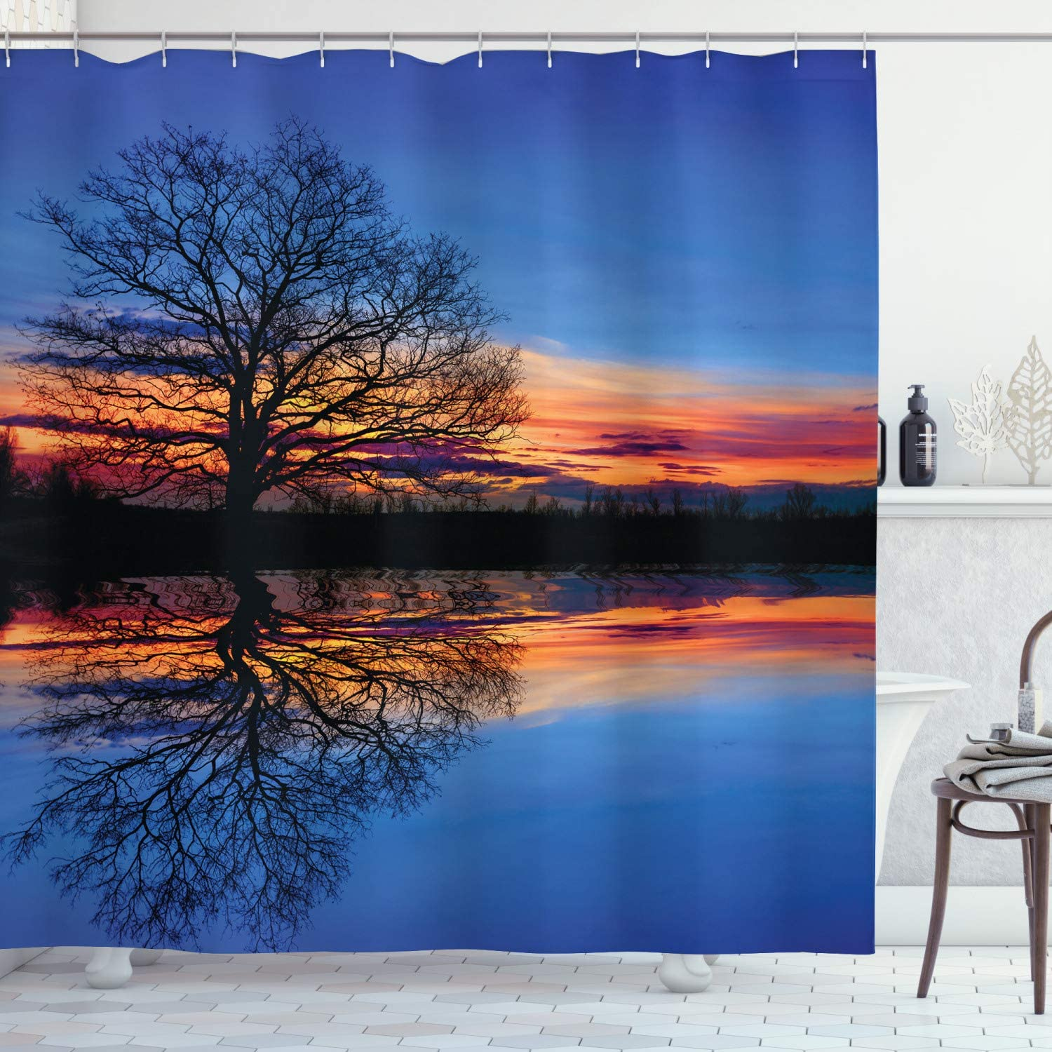 Ambesonne Panorama Shower Curtain, Tree Against Sunset View at Night with Sky Reflection Over The Lake Print, Cloth Fabric Bathroom Decor Set with Hooks, 70