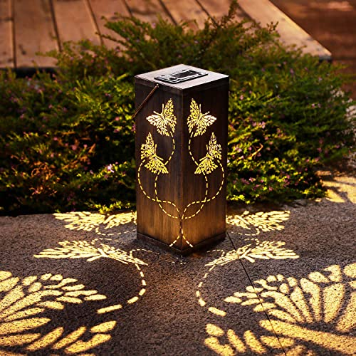 2 Pack Solar Lantern Lights Outdoor Butterfly Garden Decor with Ground Stake, Metal Hanging Solar Lanterns Waterproof Outside Lights for Lawn Patio Pathway Landscape Courtyard