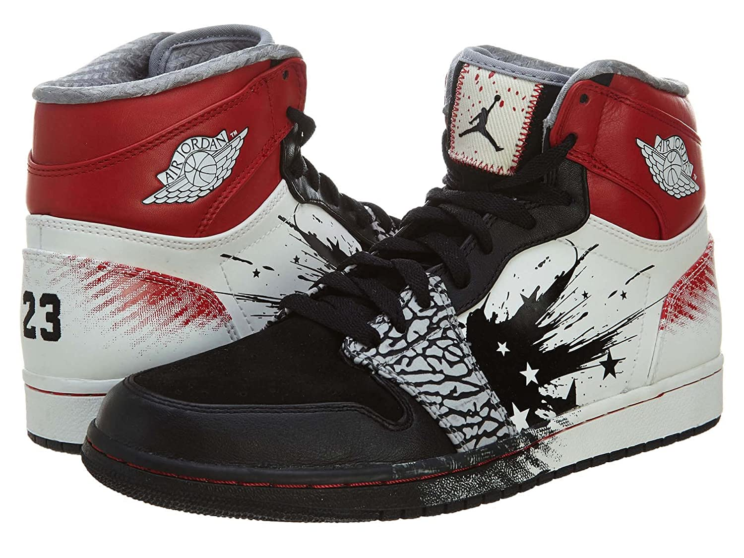 timeless design aaa37 02ad3 Amazon.com   Nike Mens Air Jordan 1 High DW Dave White Black Sport Red-White  Leather Basketball Shoes Size 10   Basketball