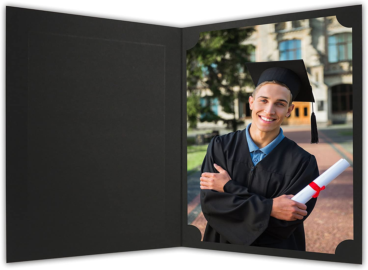Golden State Art, Cardboard Photo Folder for a 8.5x11 Photo (Pack of 25) PF060 Black