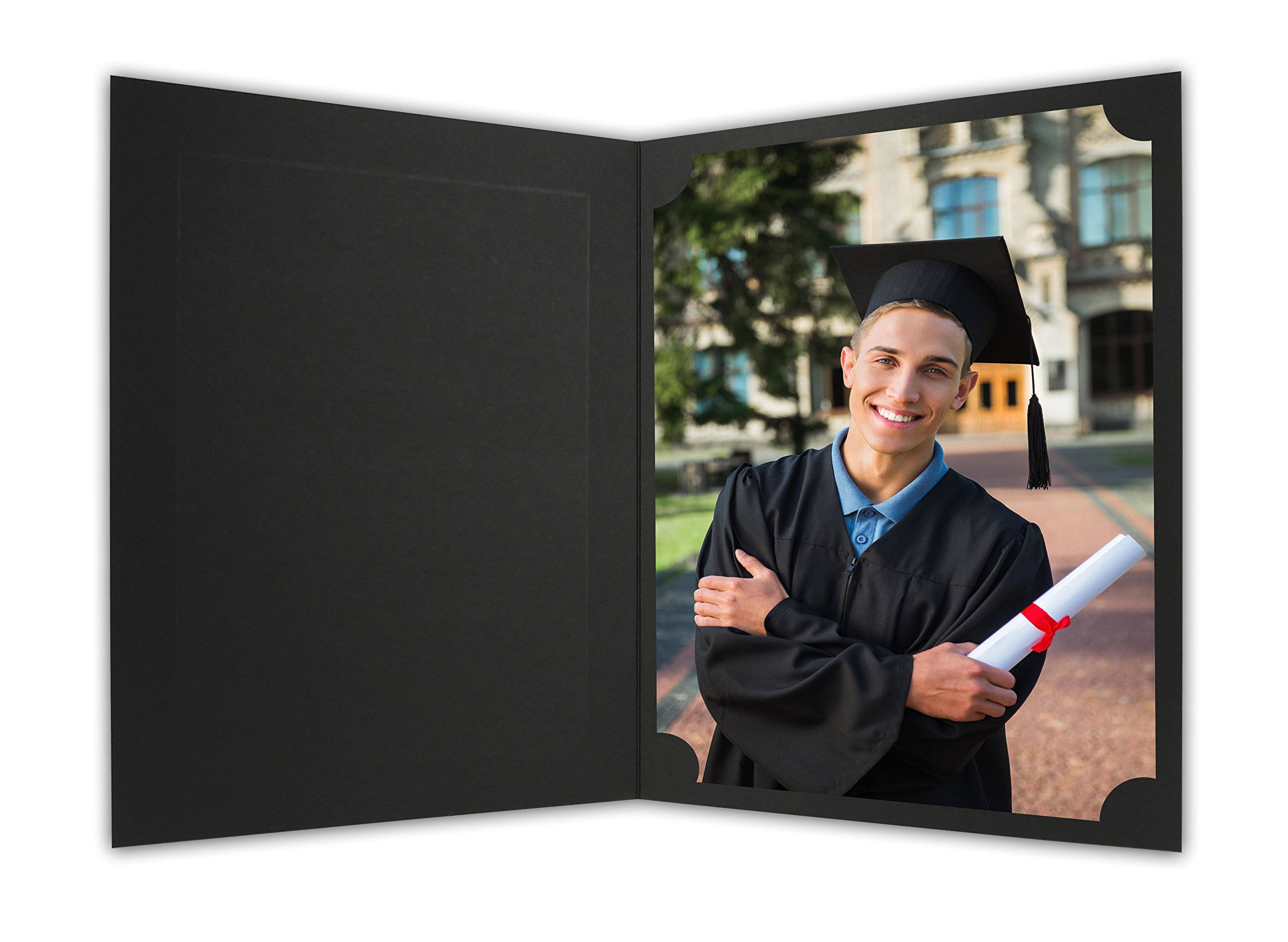 Golden State Art, Cardboard Photo Folder For a 8.5x11 Photo (Pack of 25) PF060 Black with Gold Lining by Golden State Art