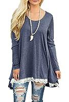 QIXING Women's Lace Long Sleeve Tunic Top Blouse