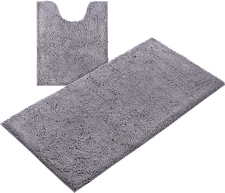Includes U-Shaped Contour Toil HOMEIDEAS 2 Pieces Bathroom Rugs Runner Set Grey
