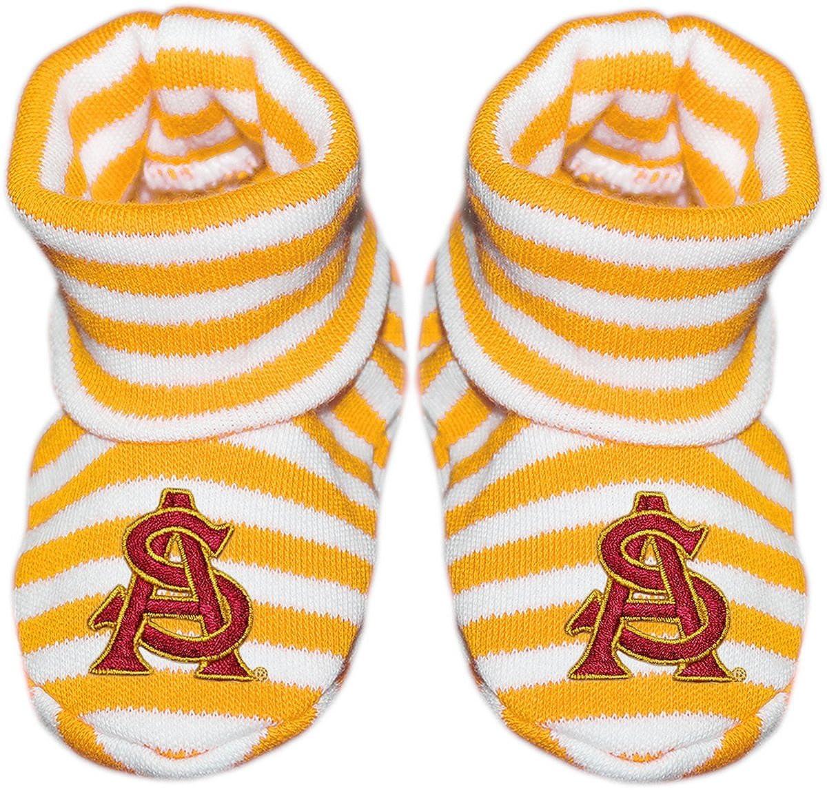Arizona State University Interlocking AS Newborn Baby Striped Bootie Sock