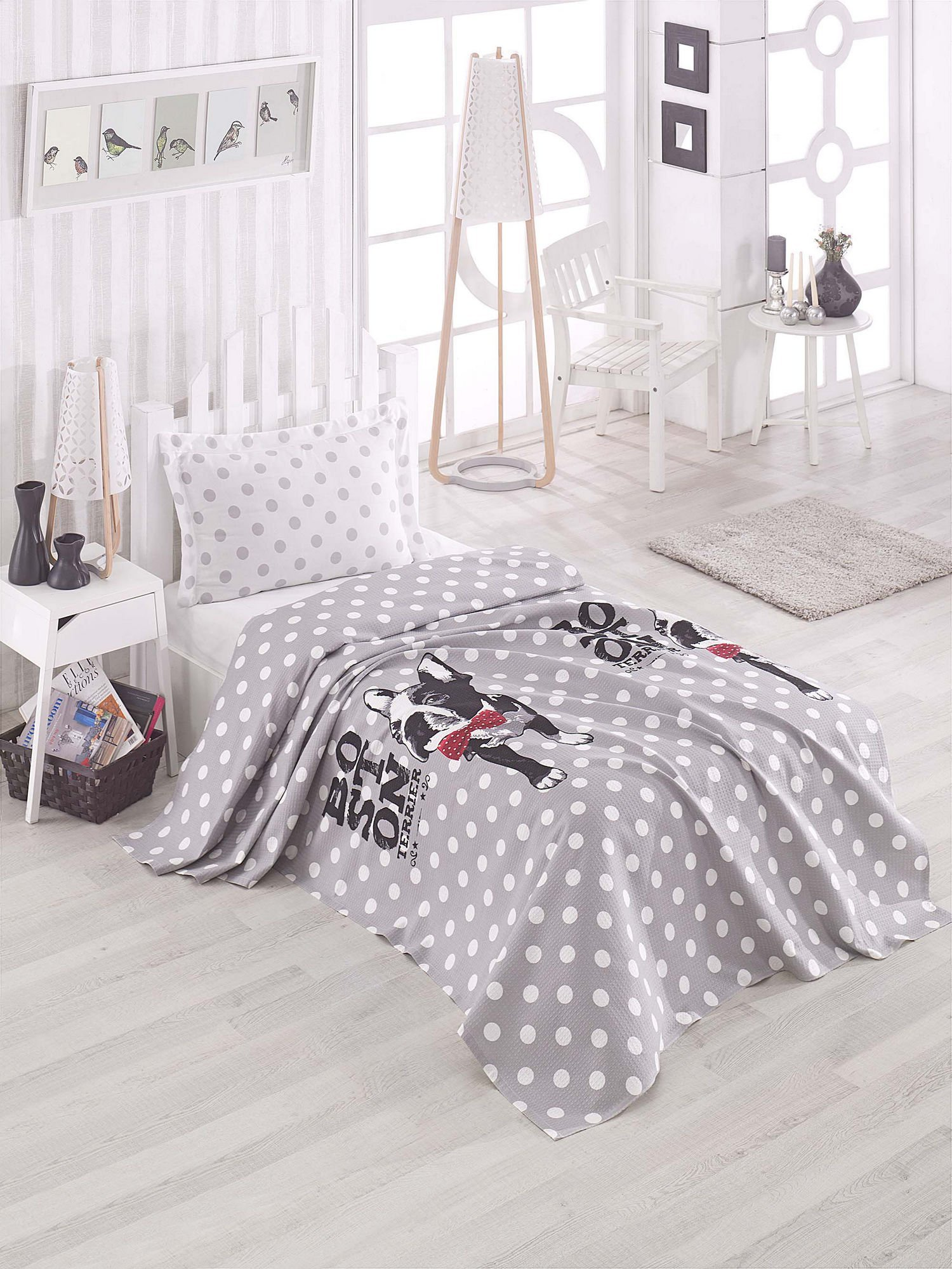 LaModaHome Luxury Soft Colored Bedroom Bedding 100% Cotton Single Coverlet (Pique) Thin Coverlet Summer/Bosion Terier Dog Animal Spot Bow Tie Grey and White/Single