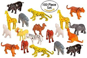 Amazon.com: 100 Piece Party Pack Mini Wild Jungle Animals ...