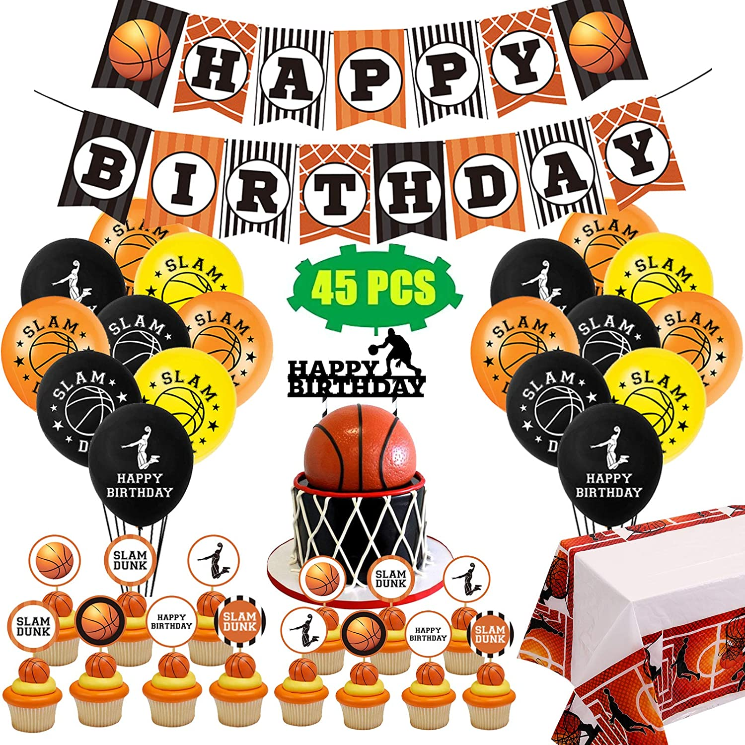 Basketball Party Decorations Supplies, Sports Theme Birthday Party Decor with Banner, Balloons, KB Cupcake Toppers, Table Cover, Slam Dunk for Kids, Baby Shower, Boys, Girls, Teenagers 45pcs