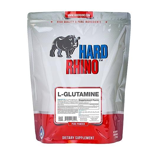 Hard Rhino L-Glutamine Powder, 1 Kilogram (2.2 Lbs), Unflavored, Lab-Tested, Scoop Included