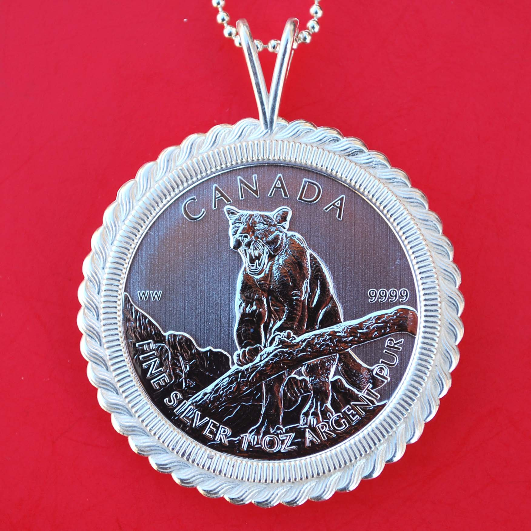 2012 Canada .9999 Fine Silver 1 Oz Argent Pur 5 Dollars Wildlife Bullion Coin Solid 925 Sterling Silver Necklace NEW - Cougar
