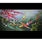 Japanese Koi Art Wall Art Framed Art Feng Shui Fish Painting 1 576