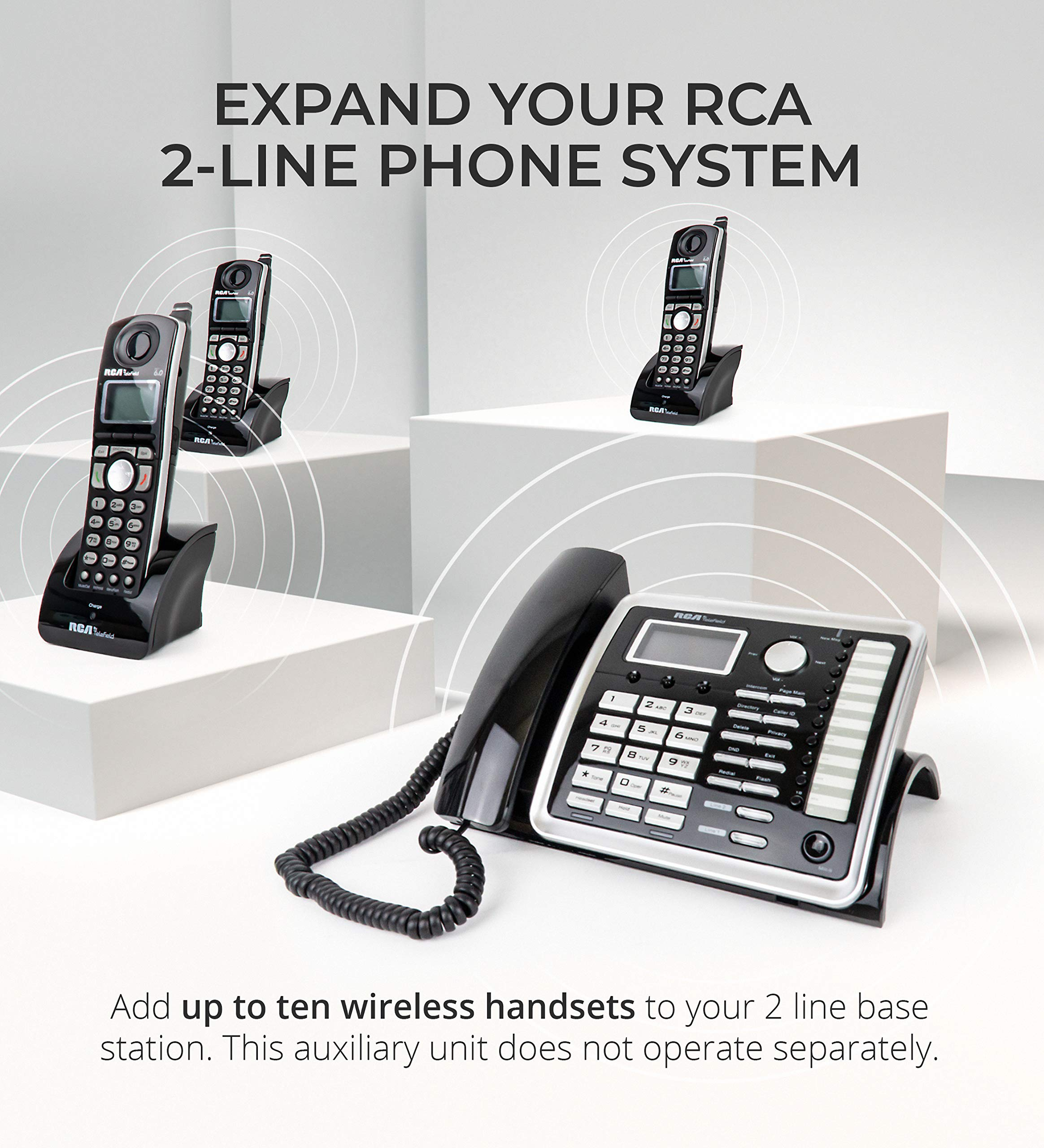 RCA 25260 2-Line Expandable Phone System - Full Duplex Telephone with Built-in Intercom Bundle with RCA 25055RE1 DECT 6.0 Cordless Accessory Handsets (3-Pack) and 6 Blucoil AA Batteries by blucoil (Image #2)