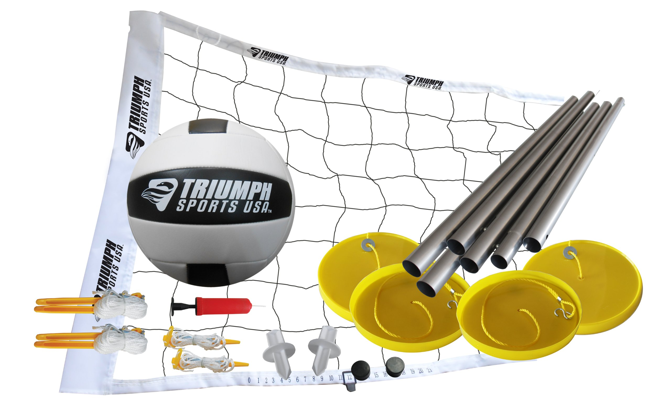 Triumph Beach Volleyball Set Includes Net, Poles, Official Size Volleyball, Inflating Pump with Needle, and More
