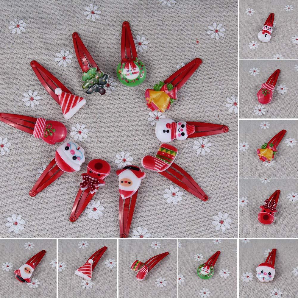display08 10Pcs Lindo Sombrero de Dibujos Animados muñ eco de Nieve niñ as Horquilla de Pelo Clip de Navidad de Regalo-Estilo Aleatorio