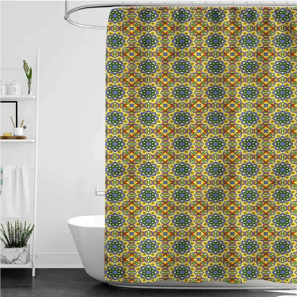 Interestlee Geometric Tropical Shower Curtain Colorful Arabesque Waterproof Summer Bath Decor, 72 x 72 Inch