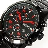 New Luxury Curren Black Steel Date Master Water Resist Sports Men Quartz Watch 8021 (Red)